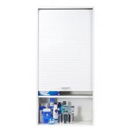 Meuble haut de salle de bains blanc largeur 60 cm hauteur for Meuble cuisine 60 cm largeur