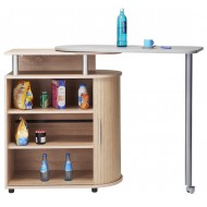 Kitchen island with rotating table 360° Oak/Concret oak + Oak roller-shutter