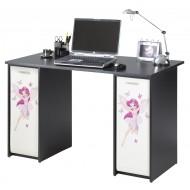 Complete desk, 2 roller-shutter cabinets + desktop, black, plain or printed