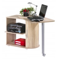 Computer desk with cabinet and rotating top , oak, plain or printed