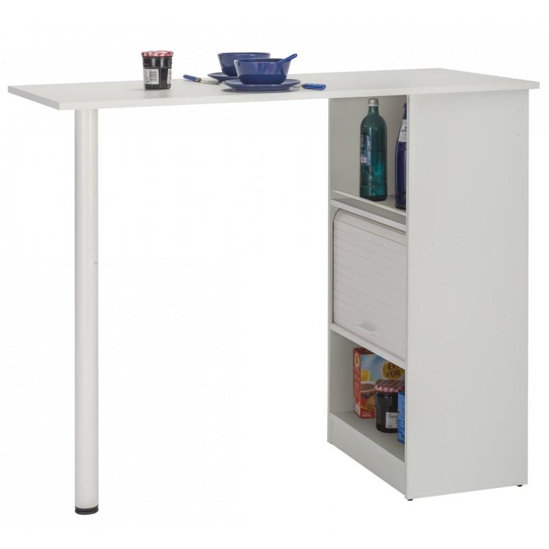 meuble rangement de cuisine blanc avec table simmob. Black Bedroom Furniture Sets. Home Design Ideas