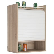 Kitchen cabinet 3 compartments - Roller-shutter - Oak