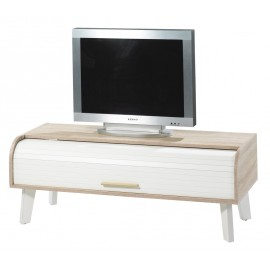 Vintage TV unit Oak, White vintage feet, roller-shutter