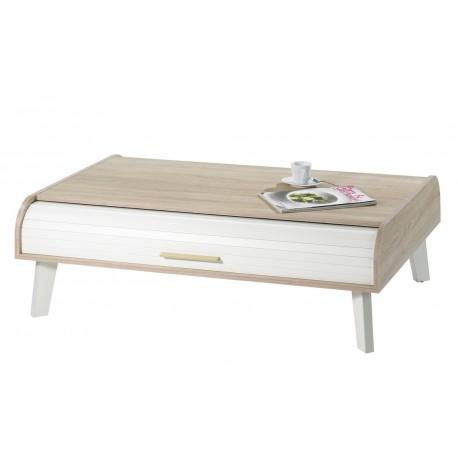 Table Basse Vintage Chêne 2 Rideaux Pieds Blancs