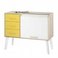 Vintage sideboard Oak - White feet - 3 drawers Yellow bee - roller-shutter