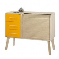Vintage sideboard Oak - Oak feet - 3 drawers Mandarin - roller-shutter