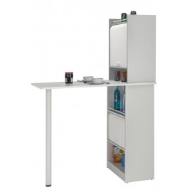 Kitchen set: Table with 2 storage cabinets - White