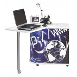 Computer desk with cabinet and rotating top, white, plain or printed