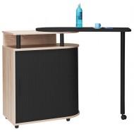 Kitchen island with rotating table 360° Oak/Concret oak + Oak roller-shutter