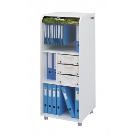 Large office shutter storage trolley, white, 3 drawers